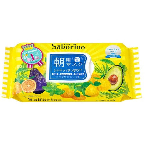 Bcl Saborino Mezama Sheets Morning Face Mask Moist Type 32pcs - Fruity Herb Scent - Harajuku Culture Japan - Beauty Products Store