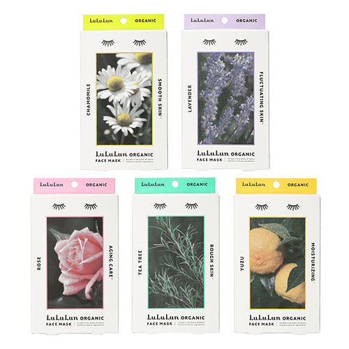 Lululun Organic Face Mask 5pcs - Lavender - Harajuku Culture Japan - Japanease Products Store Beauty and Stationery