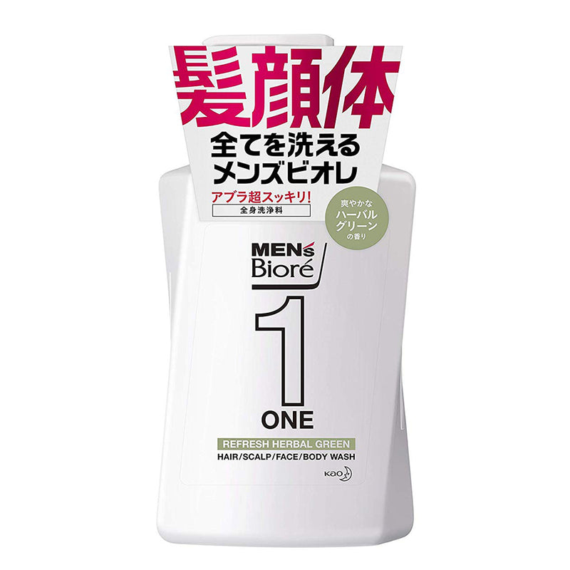 Biore Mens ONE All in One Whole Body Wash - 480ml - Herbal Green - Harajuku Culture Japan - Japanease Products Store Beauty and Stationery