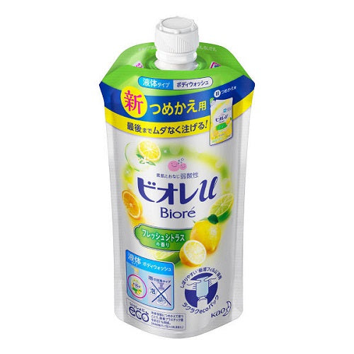 Biore U Body Wash Refill 340ml -  Fresh Citrus Scent - Harajuku Culture Japan - Beauty Products Store
