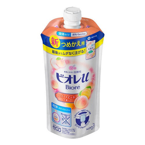 Biore U Body Wash Refill 340ml - Sweet Peach Scent - Harajuku Culture Japan - Japanease Products Store Beauty and Stationery