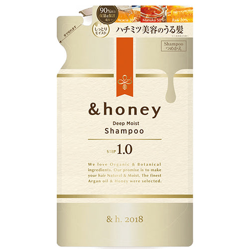 &honey Deep Moist Hair Shampoo Step1.0 (Moist Wash) Refill 350ml - Peony Honey Scent