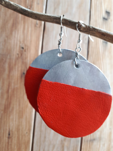 Aluminum with Leather Earrings