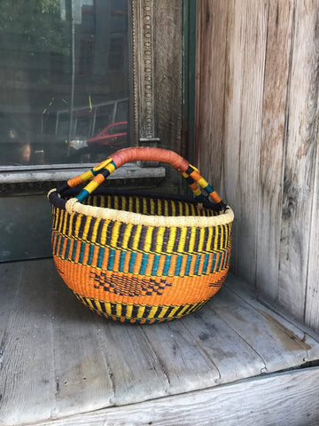 Large Round Basket - Orange, Yellow, Blue, Purple