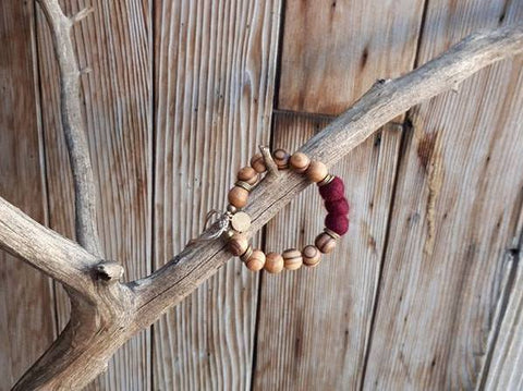 Adult Essential Oil Diffuser Bracelet - Burgundy