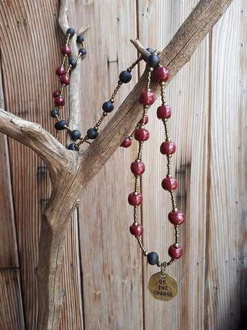 Be The Change Necklace - Burgundy