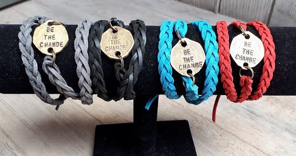 """Be the Change"" Leather Wrap Bracelet"