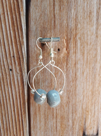 Clay Bead Hoops - Gray