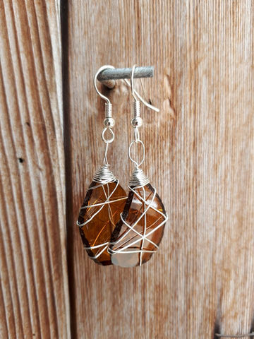 Glass Earrings - Amber
