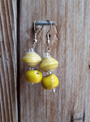 Clay/Paper Earrings - Yellow