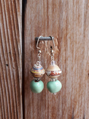 Clay/Paper Earrings - Spearmint
