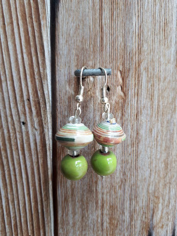 Clay/Paper Earrings - Green