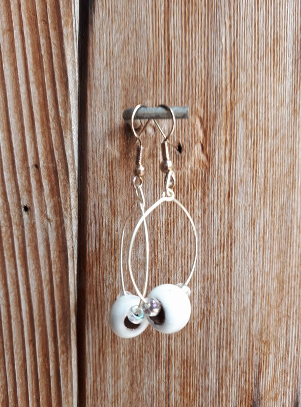 Clay Bead Hoops - White
