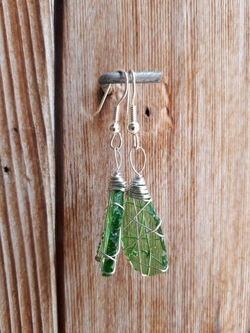 Glass Earrings - Green