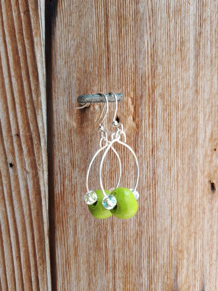Clay Bead Hoops - Lime