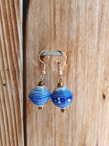 Paper Drop Earrings - Blue