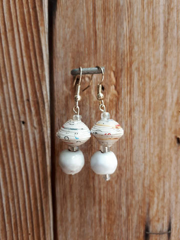 Clay/Paper Earrings - White