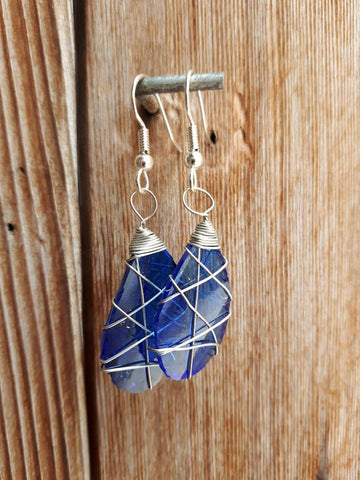 Glass Earrings - Blue