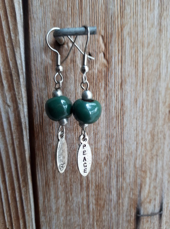 Clay Dangle Earrings - Forest Green