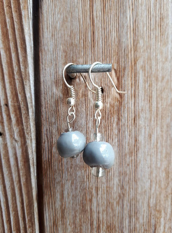 Clay Drop Earrings - Gray