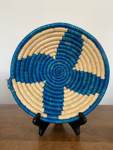 Disk Basket - Blue Flower 10""