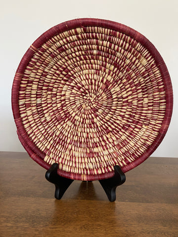 Disk Basket - Natural & Burgandy 10""