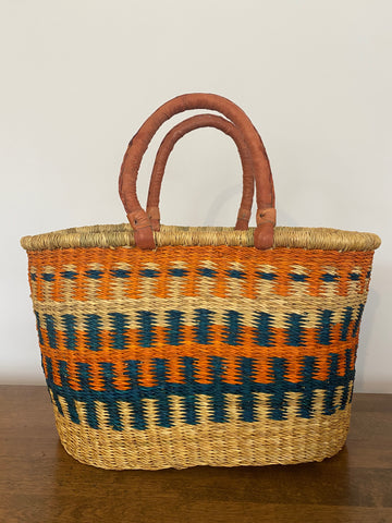 Oval Basket - Leather Handles, Orange/Teal