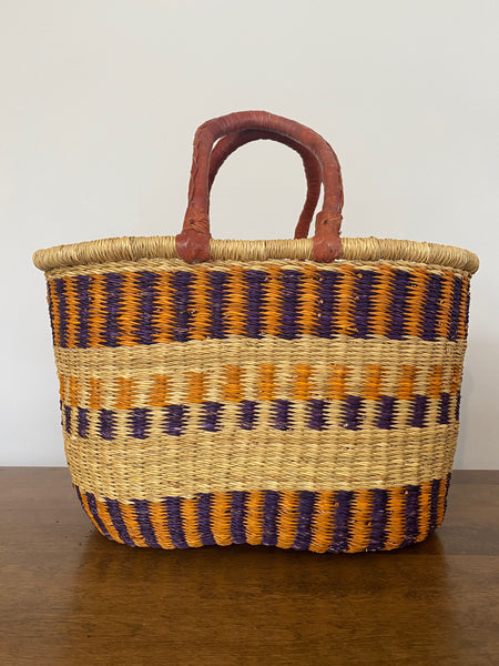 Oval Basket - Leather Handles, Orange/Purple