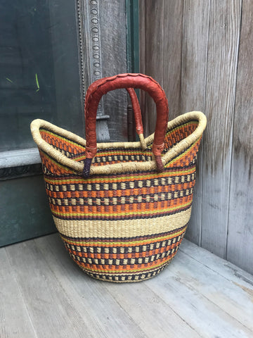 Large U-Shopper Basket - Leather Handles, Brown & Orange