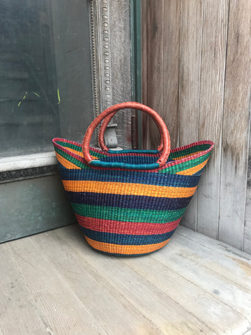 Large U-Shopper Basket - Leather Handels, Bright Multicolour