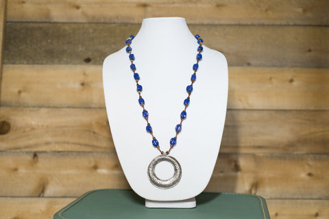 Long Medallion Necklace - Royal Blue
