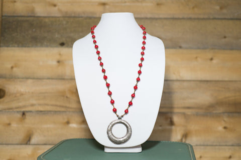 Long Medallion Necklace - Red