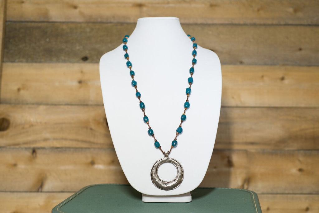 Long Medallion Necklace - Teal