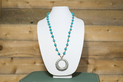 Long Medallion Necklace - Turquoise