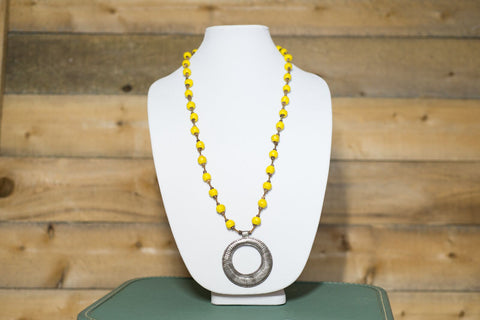 Long Medallion Necklace - Yellow