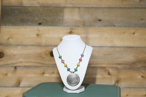 Short Medallion Necklace - Multicoloured