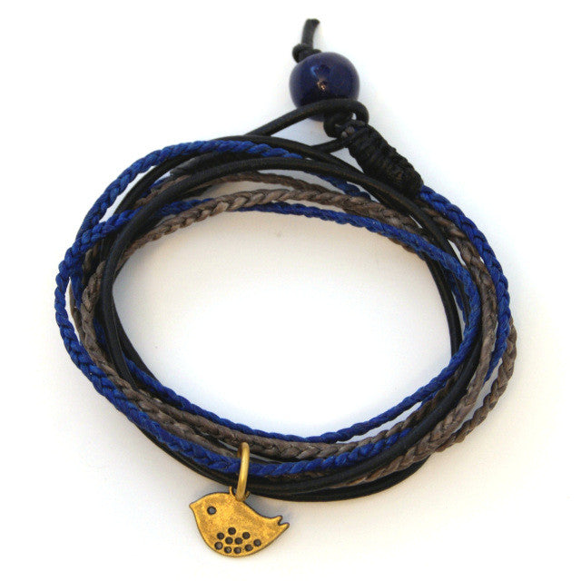 Triple Wrap Bracelet - Navy & Grey