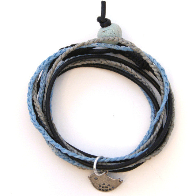 Triple Wrap Bracelet - Blue & Black