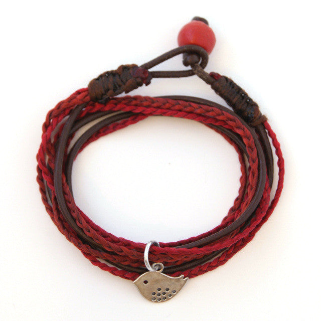 Triple Wrap Bracelet - Red