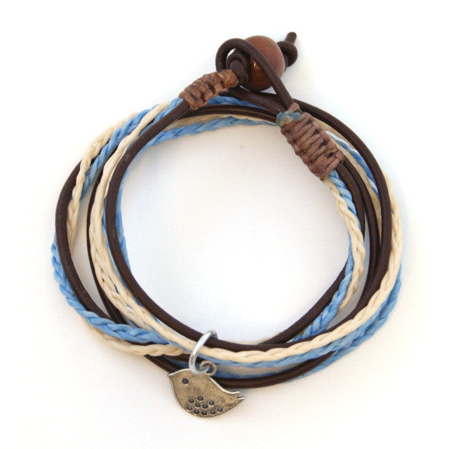 Triple Wrap Bracelet - Blue & Ivory