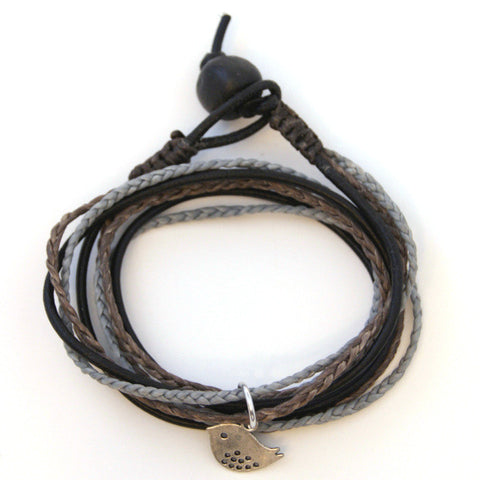 Triple Wrap Bracelet - Grey & Black