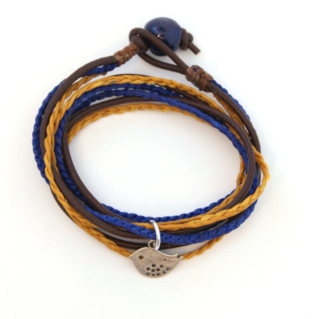 Triple Wrap Bracelet - Navy & Gold