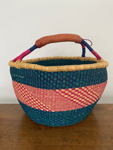 Large Round Basket - Teal & Red