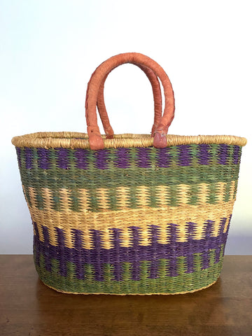 Oval Basket - Leather Handles, Blue & Green