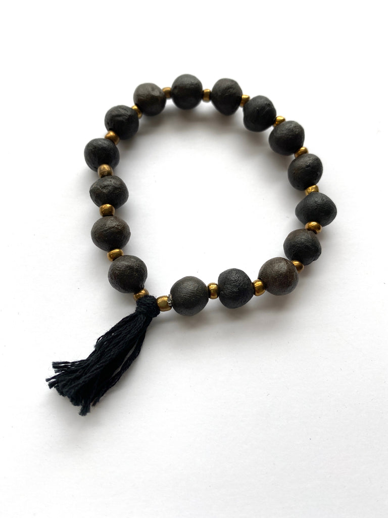 Clay Bracelet - Black Tassel