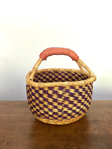 Mini Round Basket - Leather Handles, Blueberry