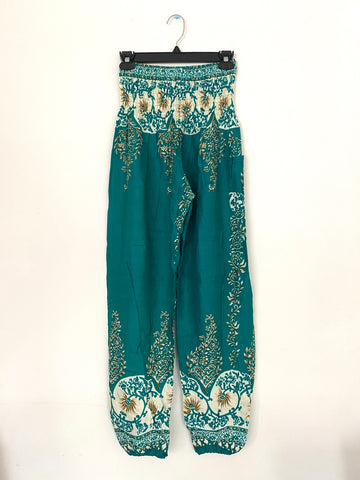 Turquoise with Flowers - Medium