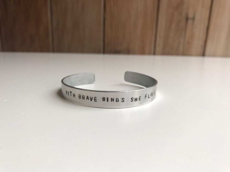 """With Brave Wings She Flies"" Cuff Bracelet"