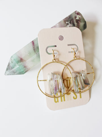 LIGHT AND AIR Purple Crystal Earrings