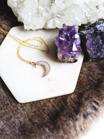 MOONLIGHT Druzy Necklace in Lavender
